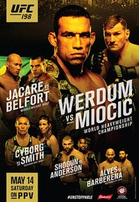 A poster or logo for UFC 198: Werdum vs. Miocic.
