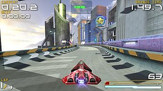 Wipeout Pure - From left to right clockwise, the interface displays lap time, current weapon, speedometer, shield strength and number of laps.