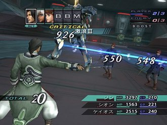 Xenosaga Episode III - A battle in Xenosaga Episode III, featuring Jin Uzuki attacking a group of enemies during a battle.