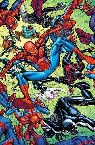 "Alternative versions of Spider-Man - The many versions of Spider-themed characters as seen in the ""Spider-Geddon"" storyline. Art by Nick Bradshaw"