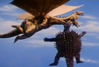 Anguirus - Anguirus clings tenaciously to King Ghidorah in Destroy All Monsters.