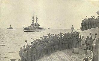 United States Battleship Division Nine (World War I) - Battleship Division Nine arriving at Scapa Flow, 7 December 1917. Taken from HMS ''Queen Elizabeth''.