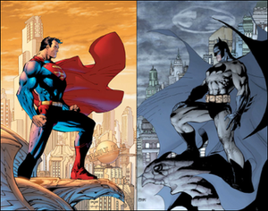 Lee's depiction of DC Comics' Superman and Batman.
