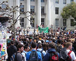 Sproul Plaza - A March 20, 2003 rally against the War in Iraq on the steps of Sproul Plaza, held by the Berkeley Stop the War Coalition