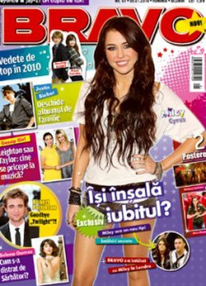 Bravo (Romanian magazine) - Miley Cyrus in front of the cover of the first 2010 issue.