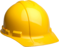 A yellow hardhat, similar to those used by construction workers