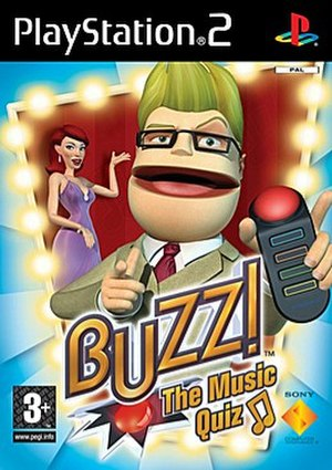 Buzz! - Cover of Buzz! The Music Quiz, the first game in the Buzz! series, showing the quiz master Buzz holding one of the buzzers designed specifically for the game series.