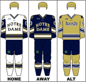 Notre Dame Fighting Irish men's ice hockey - Image: CCHA Uniform ND
