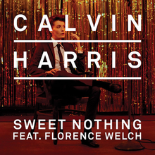 "The cover features Florence Welch wearing a suit and tie while sitting on a black chair with her right leg over her left. Behind her is a golden curtain. The word ""Calvin Harris"" is underlined, written in capital letters and appear on top overlapping Florence. The words ""Sweet Nothing"" and ""Feat. Florence Welch"" are also written in capital letters and appear below the main artist."