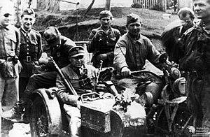 "Operation Tempest - Captain ""Mruk"" of the Radom-Kielce area Home Army, with a Soviet reconnaissance patrol."
