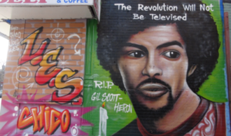 Gil Scott-Heron - New York City artist Chico painted this commemorative on the side of a building.