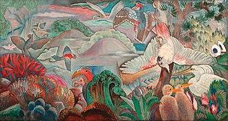 Clément Serveau - Clément Serveau, 1930, Parades des Oiseaux, oil on panel, 81 x 156 cm (32 x 64 1/2 in.), signed and dated lower left