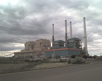 Colstrip, Montana -  Colstrip Power Plants 1-4 from right to left