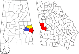 Location of the Columbus, Georgia-Auburn, Alabama CSA and its counties:  Columbus, Georgia Metropolitan Statistical Area  Auburn, Alabama Metropolitan Statistical Area  Tuskegee, Alabama Micropolitan Statistical Area (defunct)