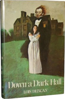 Cover of the book, showing a girl standing in front of a spirit with a brown mansion in the background