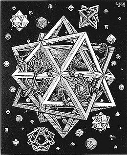 <i>Stars</i> (M. C. Escher) wood engraving print by M. C. Escher