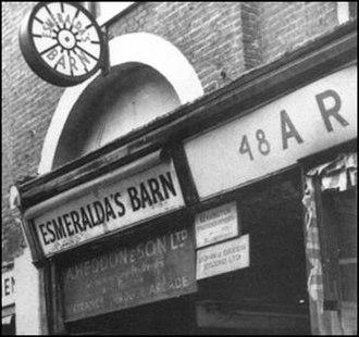 Esmeralda's Barn - Esmeralda's Barn, with its sign based on a roulette wheel