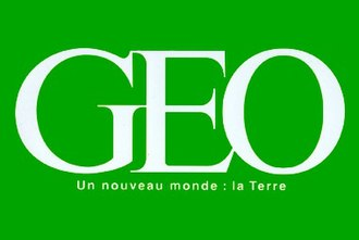 "GEO (magazine) - Magazine logo. Below is its slogan in French: ""A new world: the Earth"""