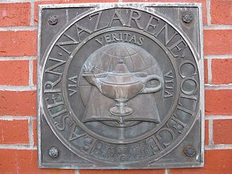 Eastern Nazarene College - College seal on the main campus gate, a gift of the class of 1938