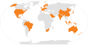 HCL Technologies - A world-map showing the countries where HCL Technologies has operations.