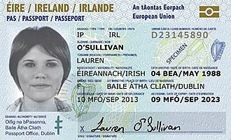 Irish passport - Front of the card (note that the validity of this specimen image is TEN years, rather than the actual current maximum of FIVE years)