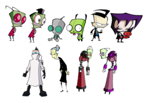 Invader Zim - From left to right. Top: Zim, Zim in his human disguise, GIR, GIR in his dog disguise, Dib, and Gaz. Bottom: Professor Membrane, Ms. Bitters, Almighty Tallest Red, and Almighty Tallest Purple.