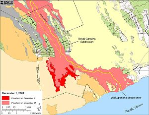 Puʻu ʻŌʻō - USGS map of 2008 lava flows