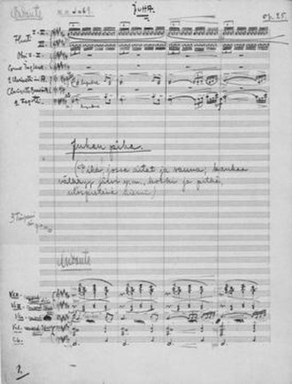 Juha (Merikanto) - First page of the score.