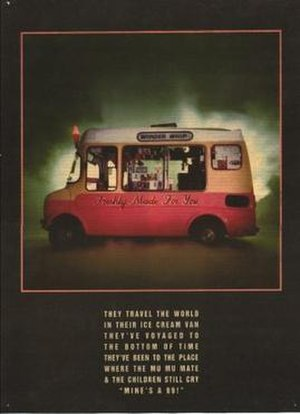 "The KLF - KLF Communications' advert for ""Justified & Ancient"", with a quote from the lyrics: ""They travel the world in their ice cream van, they've voyaged to the bottom of time. They've been to the place where the Mu-Mu mate, and the children still cry 'Mine's a 99!'"""