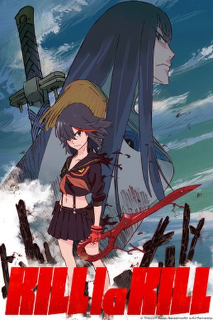 Kill la Kill - International promotional artwork of Kill la Kill with Ryuko Matoi (foreground, wearing Senketsu) and Satsuki Kiryuin (background, wearing Junketsu).
