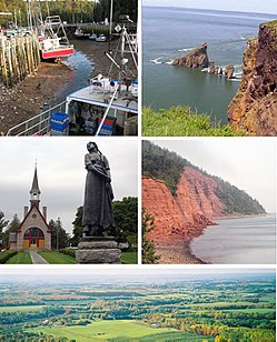Montage of pictures of Kings County, starting from top left reading clockwise: Hall's Harbour, Cape Split, Cape Blomidon, Annapolis Valley Look Off, UNESCO World Heritage site at Grand Pre