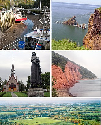 Kings County, Nova Scotia - Montage of pictures of Kings County, starting from top left reading clockwise: Hall's Harbour, Cape Split, Cape Blomidon, Annapolis Valley Look Off, UNESCO World Heritage site at Grand Pre
