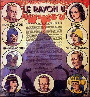 Le Rayon U - A finely wrought character synopsis displayed at the Centre Belge de la Bande Dessinée, Brussels