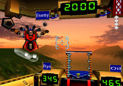 "A huge robot that looks like a Kabuki performer facing the player, who is inside the cockpit of another robot, a sunset background, and meters inside the cockpit reading ""Enemy 2000"", ""Ryo 345"", ""Oil 465"""