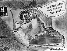 "A cartoon showing a man and a woman in bed together with balloon caption ""Did the earth move for you too dear?""."
