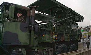 AN/TPS-75 - The AN/TPS-75 radar antenna packed on a 5-ton truck.