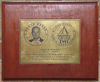 Grote Reber - His memorial plaque at the Mullard Radio Astronomy Observatory
