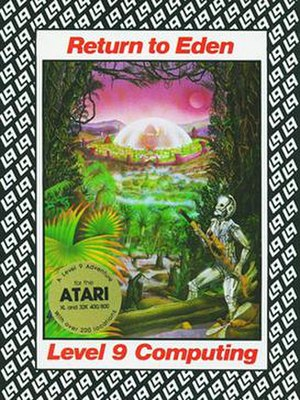 "Level 9 Computing - This version of Return to Eden illustrates the general cover design used for most of Level 9's self-published releases. The ""L9"" logo is used as a background motif."