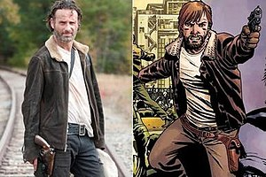 Rick Grimes - Rick Grimes, as portrayed by Andrew Lincoln in the television series (left) and in the comic book series (right).