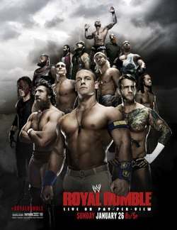 Promotional poster featuring various WWE wrestlers .