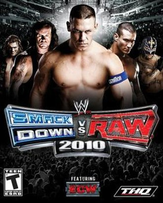 WWE SmackDown vs. Raw 2010 - NTSC cover art featuring Edge, The Undertaker, John Cena, Randy Orton and Rey Mysterio