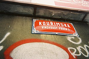 "Districts of Prague - The writing on this Prague street sign indicates it is in the Vinohrady cadastral area and in the ""old"" district Prague 3."