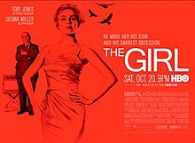Red poster with write writing. Picture of a woman with man in the background. The title The Girl is seen to the right of the image.
