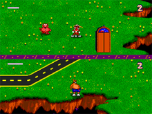 Two aliens, one red and one orange stand in fields surrounded by chasms. A red demon and an elevator are near the red alien. The two aliens are separated by a purple line that runs horizontally through the image.