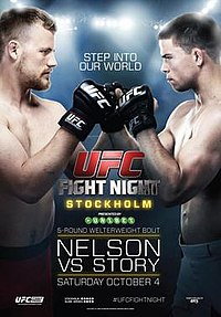 A poster or logo for UFC Fight Night: Nelson vs. Story.