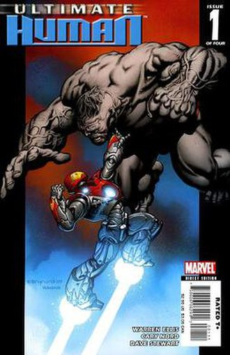 Ultimate Human - Cover of Ultimate Human No. 1 (Jan. 2008), featuring Ultimate Hulk and Ultimate Iron Man.   Art by Cary Nord.
