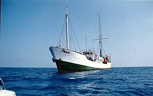 """Voice of Peace - The ship MV Peace in East of the Mediterranean and the antenna of the """"Voice of Peace"""" radio station broadcasting to the Middle East"""