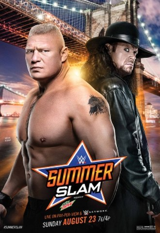 SummerSlam (2015) - Promotional poster featuring Brock Lesnar and The Undertaker