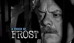 Series title over a headshot of Frost peering through cell bars