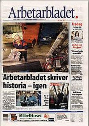 Arbetarbladet - Arbetarbladet front page